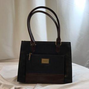 Tignanello Black / Brown Leather Square Tote Bag